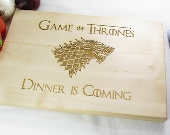 Game of Thrones Chopping Board Personalized, Game of Thrones Dinner is Coming Stark Family Wood Cutting Board, Custom Engraved Cutting Board