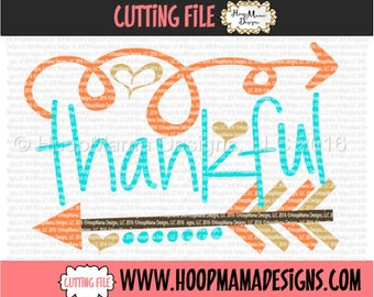 Thankful with Arrow - Thanksgiving SVG DXF eps and png Files for Cutting Machines Cameo or Cricut