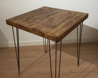 Reclaimed Pine Rustic Table Solid Wood Metal Hairpin Legs