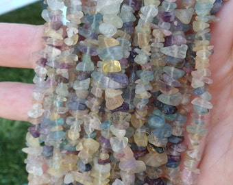 "2 Strands! Rainbow Fluorite 36"" Bead Strand/Necklace"