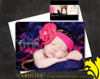 CAROLINE . birth announcement . printable or printed 5x7