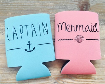 Matching Couple Can Coolers - Captain & Mermaid - Mr and Mrs - Bridal Gift