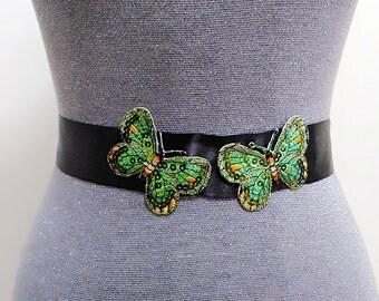 Butterfly belt, Sequin belt, Bridal belt, Wedding dress belt, Black belt, Wedding belt, Bridal sash, Wedding sash, Dress sash, Ribbon sash