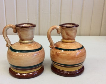 Pennsbury Pottery Brown Striped Candle Holders