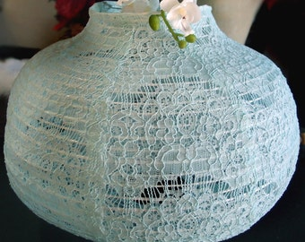 "22"" Cool Mint Green Lace Fabric Psytker Bell Lantern - 22EVSLC1-RE"