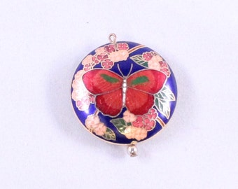 Vintage Enamel Butterfly Pendant by Paststore
