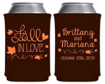 Customized Can Cooler Fall Wedding Favors Insulators Autumn Wedding | Fall In Love (3B) | Custom Beer Holders/Can Holders | READ DESCRIPTION