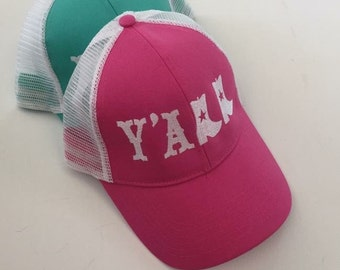 Y'ALL with Boots Embroidered BaseBall Trucker Hat!  Southern Sass, Trucker Hat, Yall Hat