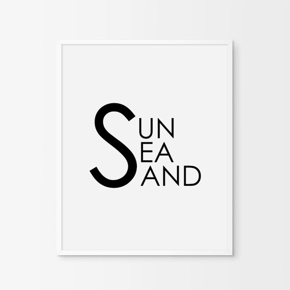 "Typography Print ""Sun Sea Sand"",Printable Art, Summer Print, Modern Wall Art, Digital Print, Home Decor, Wall Art, Typography Wall Art"
