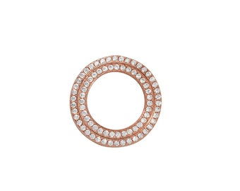 1 Pc Sterling Silver 19.5 mm Rose Gold Plated Circle Pendant W/ CZ (SSP100169)