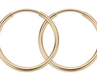 1 Pair, 2 Pcs 14 mm 14K Gold Filled Hoop Earrings (GF4003801)