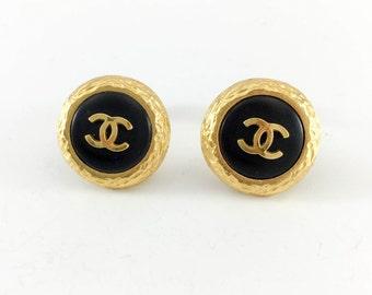 Chanel Gold-Plated Logo Earrings - 1995