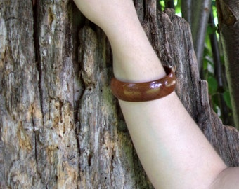 Wooden bangle wood bracelet handmade wood jewelry mahagoni