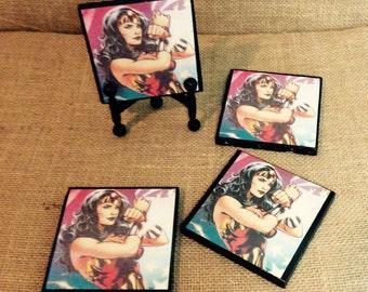 Wonder Woman Stone Tile Coasters
