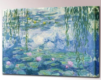 Water Lilies Claude Monet Canvas Wall Art Print in 4 Sizes Ready To Hang