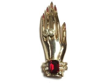 40s Coro Hand Brooch Sterling Silver || Painted Fingernails Brooch | Coro