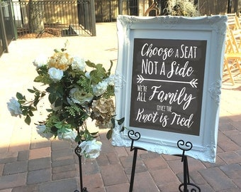 Pick a Seat Not a Side, Wedding Seating Sign, Wedding Ceremony Sign, Choose A Seat Not A Side, Printable Chalkboard Sign