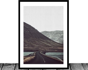 Road Photography, Iceland Print, Highway Photography, Mountains Landscape Print, Wanderlust Landscape, Summer Iceland, Country Road, Snowy