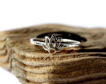 Lotus ring. Tiny sterling silver ring, stacking ring, hammered band ring