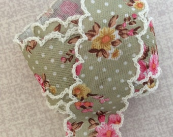 Green Floral Polka Dot Ribbon Edged
