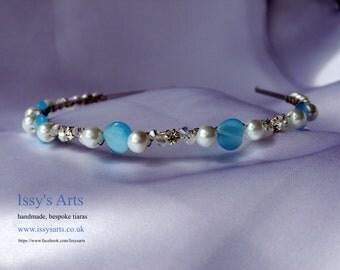 Tiara Headband Bridal Wedding white pearls blue glass hearts and diamantes Hair Accessory for brides bridesmaids