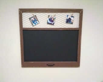 Large Rustic Chiken Wire Frame with Chalkboard, Chalkboard and Picture Holder, Rustic Frame, Blackboard, Message Holder, Chalkboard