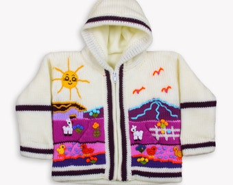 Girl white and pulple fleece lined knitted cardigan/sweater/jacket/ coat with hand embroidered applications