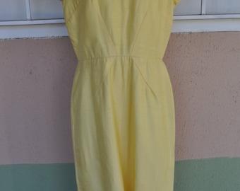 Vintage 1960s Pale Yellow Krist Dress