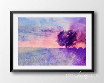 Watercolor art print, Lavender print, Handdrawn watercolor tree, Printable watercolor, Digital print 302