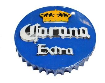 Corona Bottle Cap Metal Wall Decor - metal corona sign- Corona beer sign - metal corona beer sign - metal beer signs