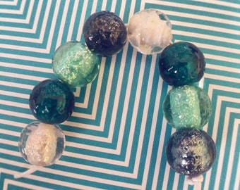 Glitter Sparkle Lampwork Beads - Sparkle Beads - On Trend - Lampwork Glass - Bead Set - Marble Beads - Round Beads - UK Artisan Handmade