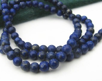 Lot de 10 perles lapis lazuli véritables 6 mm