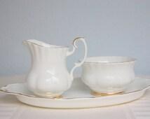 Vintage Royal Albert Bone China 'Val D'Or Creamer and Sugar Set, Milk Jug and Sugar Bowl, Matching Tray