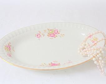 Vintage Dutch Mosa Maastricht Porcelain Oval Serving Plate, Rose Decor