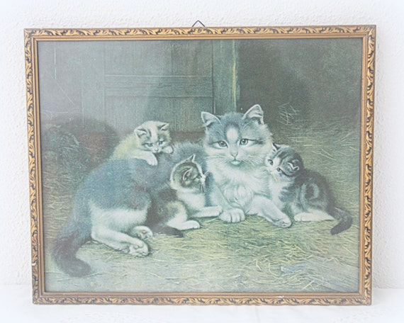 Vintage Cat with Kittens Print Under Glass, Gilded Wooden Frame