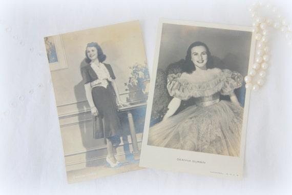 Set of Two Vintage Postcards, Sepia Glamour Photo