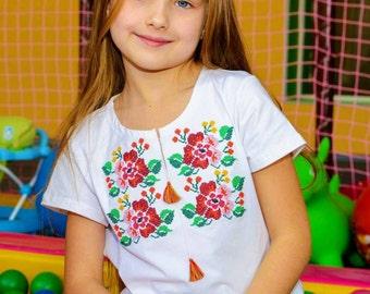Сhildren embroidered Ukrainian T-shirt for spring (vyshyvanka) for a girl : 3-12 years