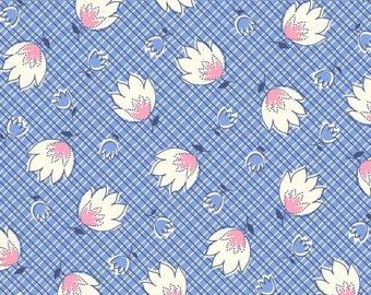 Feedsack Floral Print Blue - Reproduction 1930s - by the Half Yard