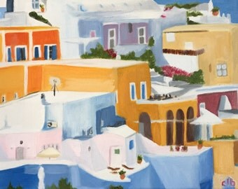 Santorini Painting, 14 x 11, Original Art, Oil Painting, Greece Painting, Cityscape Painting, Colorful City Painting, Greek Buildings Art