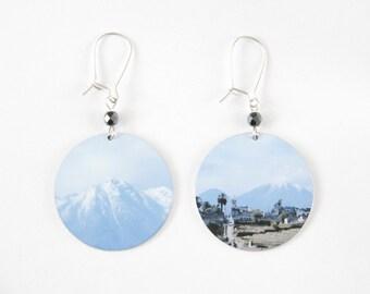 Mountain Landcape Disc Earrings - light aluminum - reversible dangle earrings - sterling silver ear wires