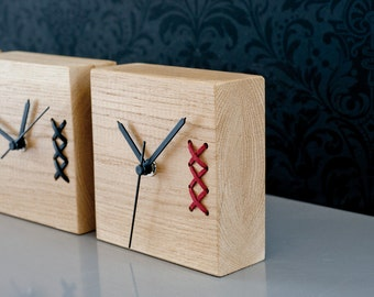 Desk Clock, Red Wood Clock, Table Clock, Wooden Clock, Small Clock, Unique Clock, Modern Clock, Office Decor, Gift for Men, Fathers Day Gift