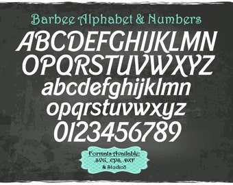 Barbee Alphabet and Numbers in .SVG .EPS .DXF & .Studio3 formats Craft Cut Die Cutters Digital Vector Files Instant Download