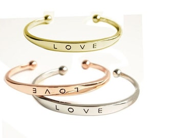 LOVE bangle / cuff bracelet - adjustable