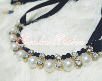 Black Ribbon Tie Pearl Statement Necklace
