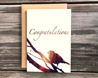 Congratulations Art Greeting Card, Bird on Branch congrats blank cards
