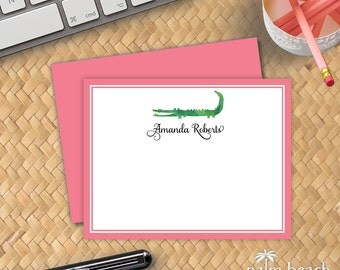 Preppy Alligator Flat Notecards - Preppy Pink & Green Personalized Correspondence Card Stationery - Flat Alligator Thank You Note