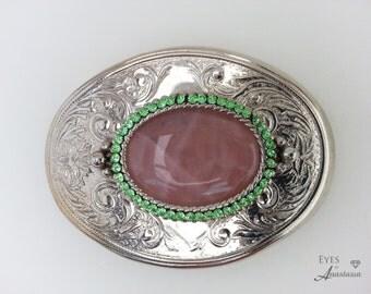 Rose quartz belt buckle, rhinestone belt buckle, Heart chakra, Love gemstone, Free shipping gift, Healing gemstone, Pink belt buckle