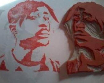 Tupac Hand Carved Rubber Stamp