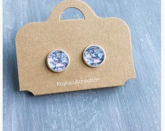 Custom world map earrings