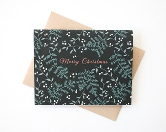Merry Christmas Card, Evergreen and Berry Christmas Card